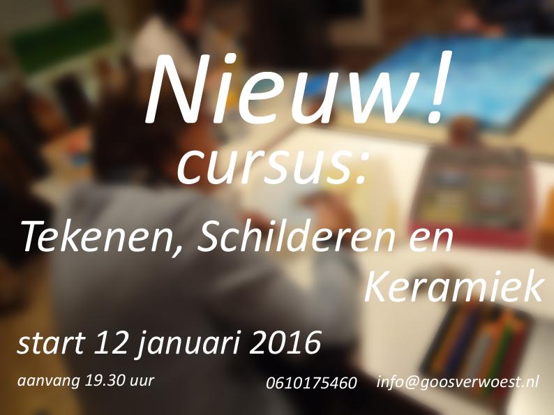 De nieuwe teken-, schilder- en keramiek cursus start op 12 januari 2016.